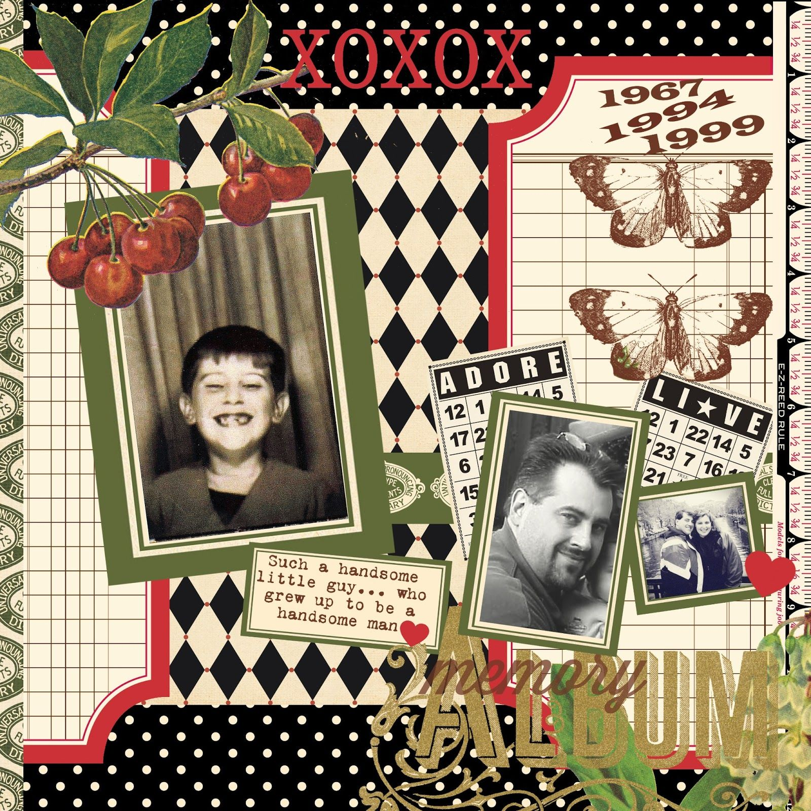 Jenni Bowlin Designs-Haven Collection (labels, papers and extracted elements) Classic Label Paper, Red and Black 4 Border,Vintage Bingo Cards