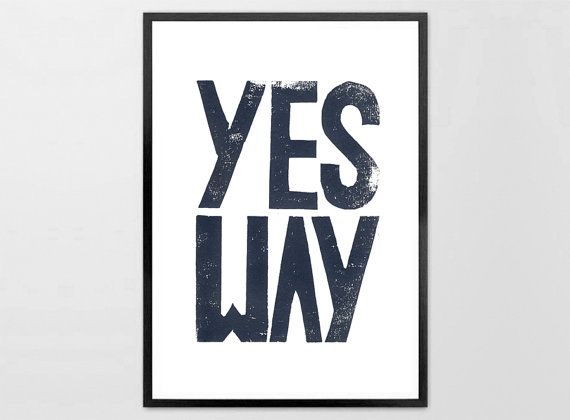 Set of 2 Linocut Prints  NO Way print and  YES Way print by typogy, $30.00