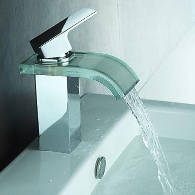 Glass Waterfall Bathroom Sink Faucet Single Hole Mixer Tap Bathroom Sink Faucets Waterfall Modern Bathroom Faucets Sink Faucets