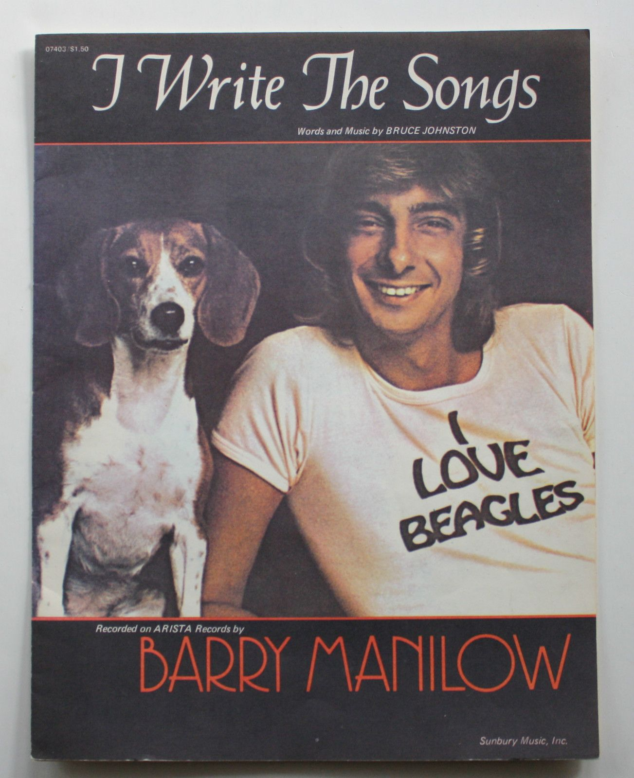 Barry Manilow Sheet Music I Write The Songs 1974 Beagle Dog Cover