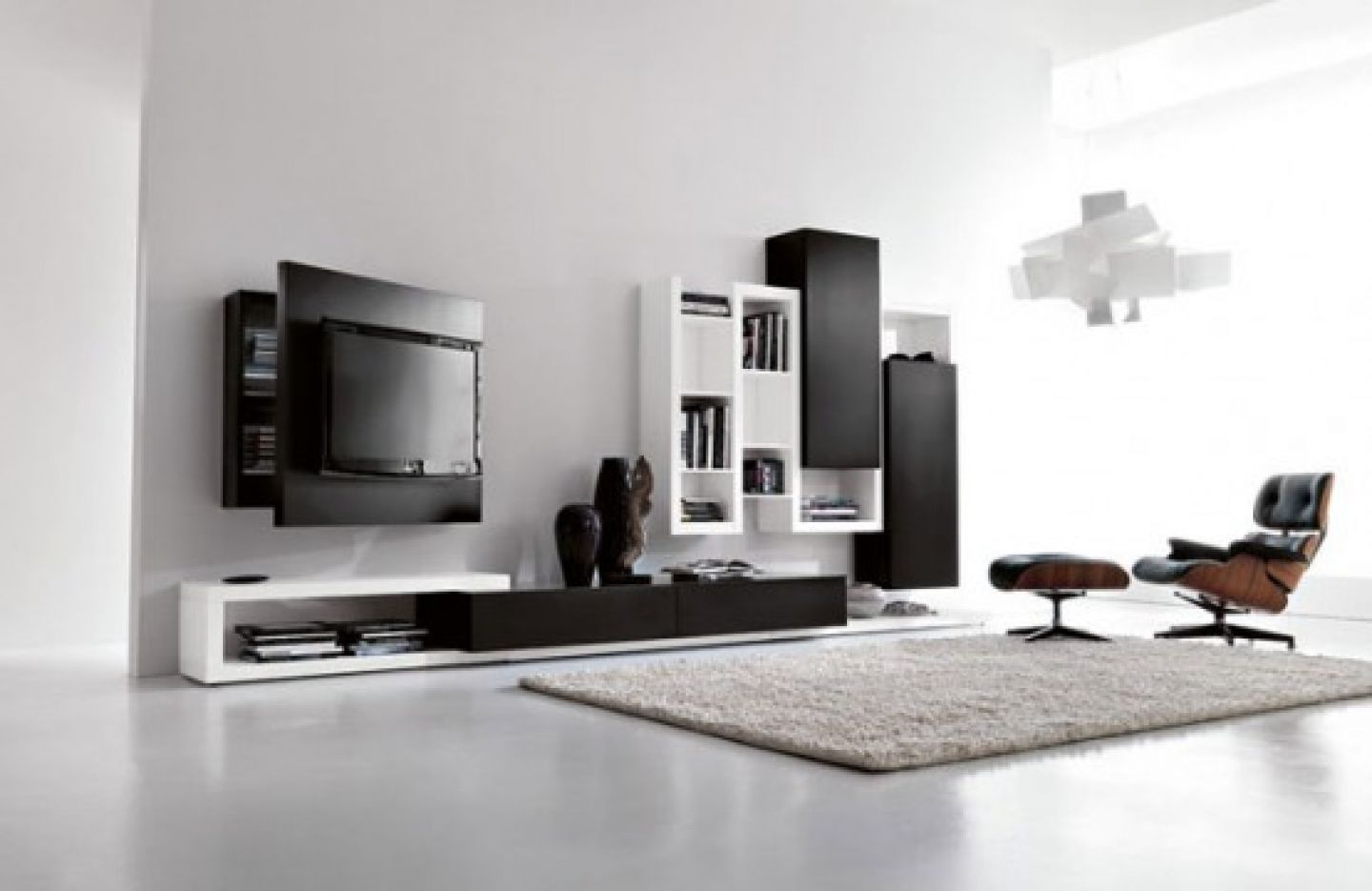living room luxurious white design black wall units bookshelf rug