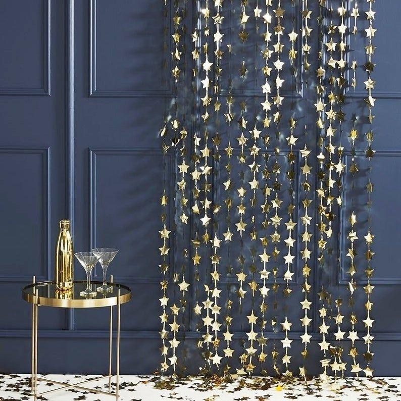 gold foil star curtain gold foil fringe