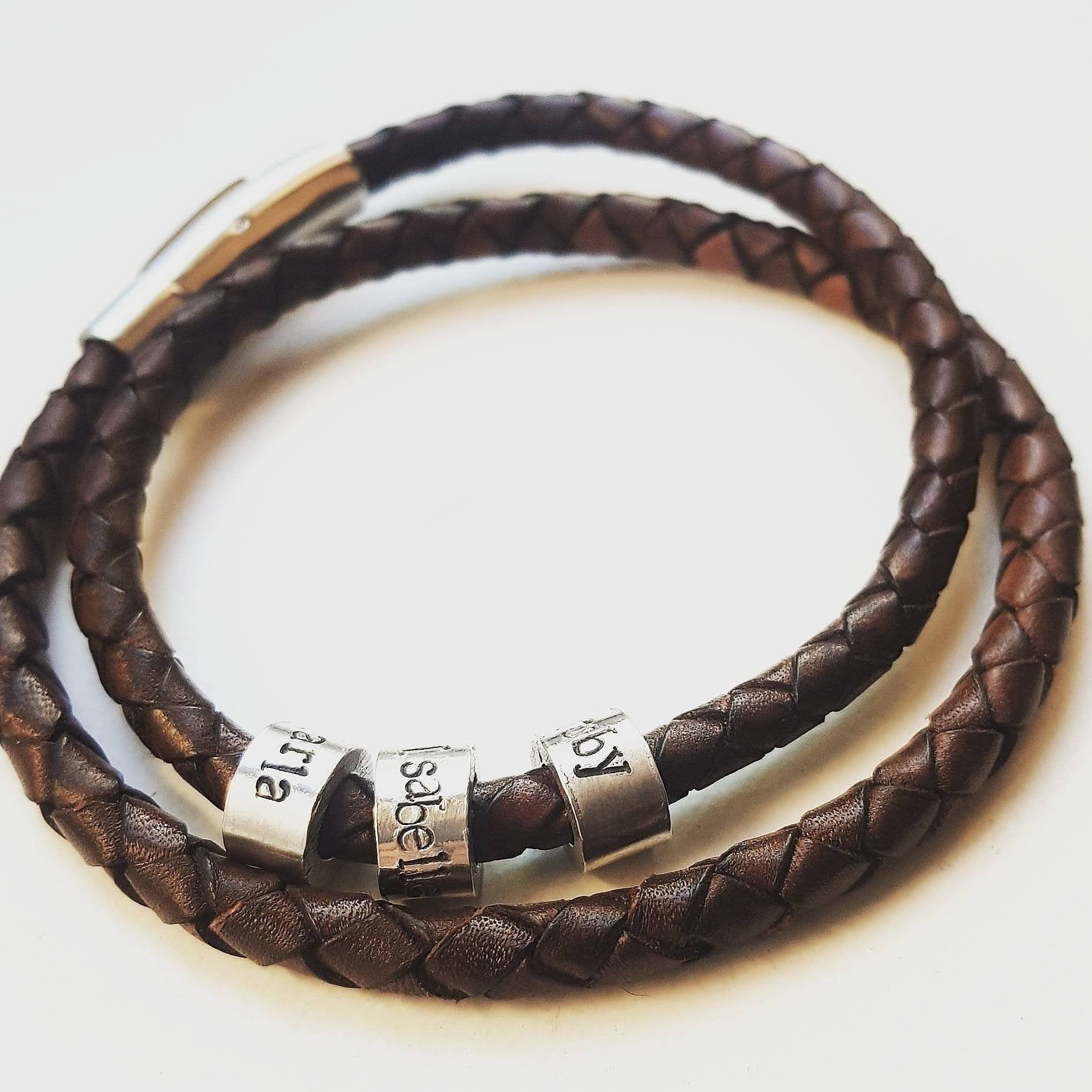 Mens leather bracelet fathers day gift valentines day