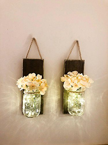 Mason Jar Wall Sconce (SET OF TWO) Rustic Wall Decor, Mas... https ...