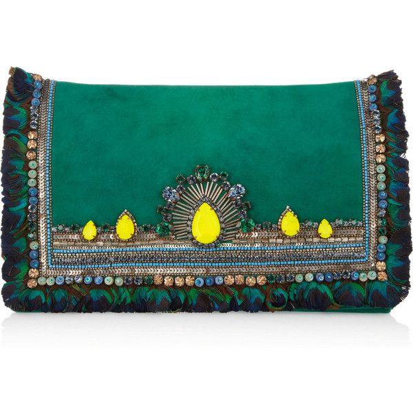 Matthew Williamson Swarovski crystal-embellished suede clutch ($1,350) ❤ liked on Polyvore