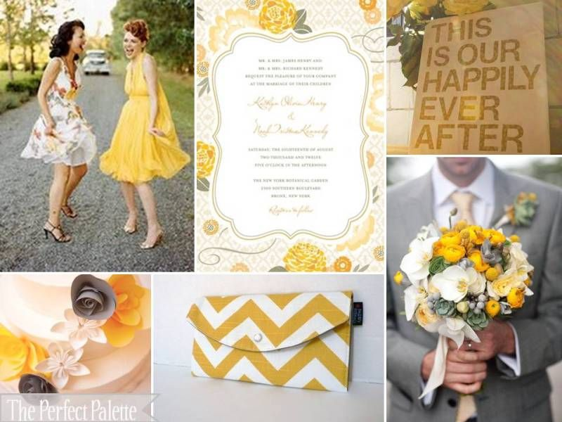 Sunshine Soiree Shades Of Yellow Gray White Gele Bruiloft