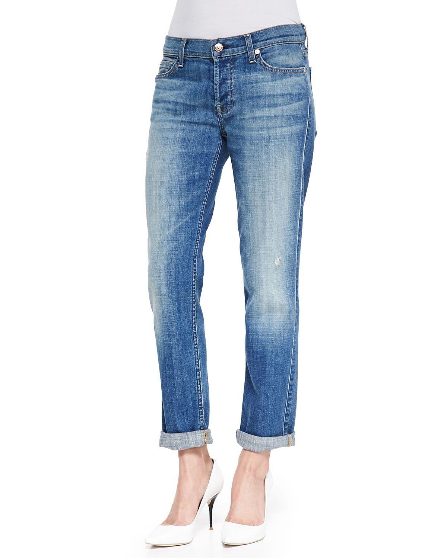 7 For All Mankind Josefina Slim Boyfriend Jeans Bright Light
