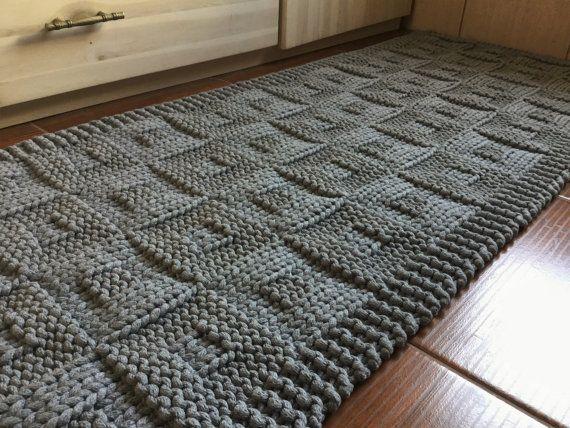 Bath Mat Hand Knit Rag Rug
