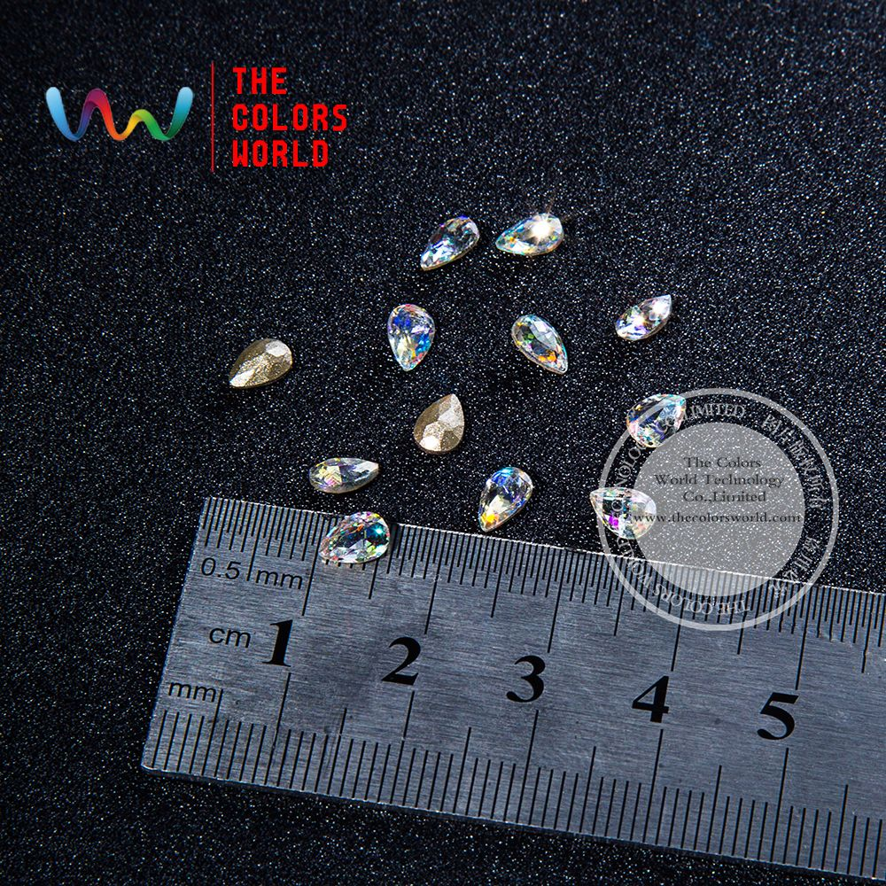 004 3D 4*6MM Drop Shape Clear Glitter Shinny Crystal Diamond for ...