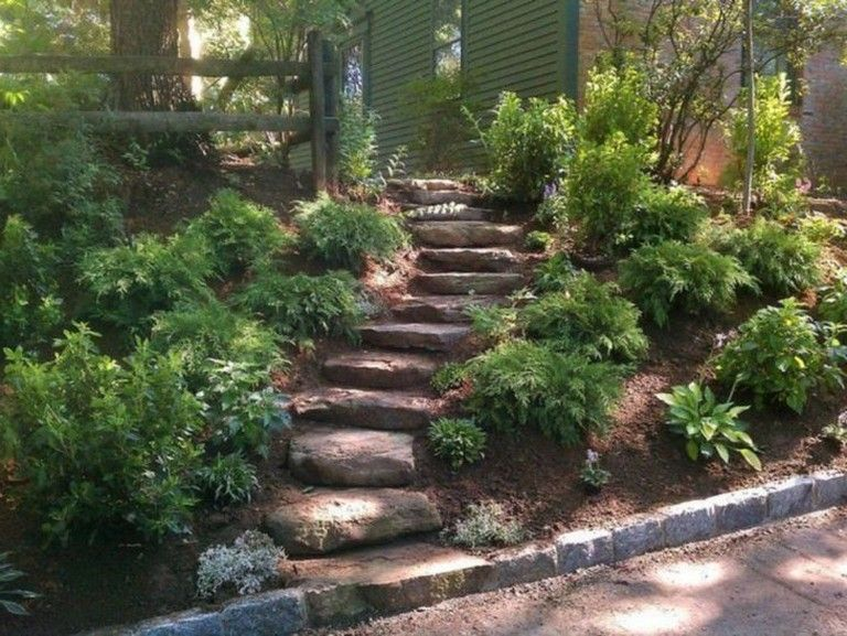 Best 10 Adorable Landscaping On A Slope Backyard On Your Budget Sloped Backyard Landscaping Sloped Garden Pathway Landscaping