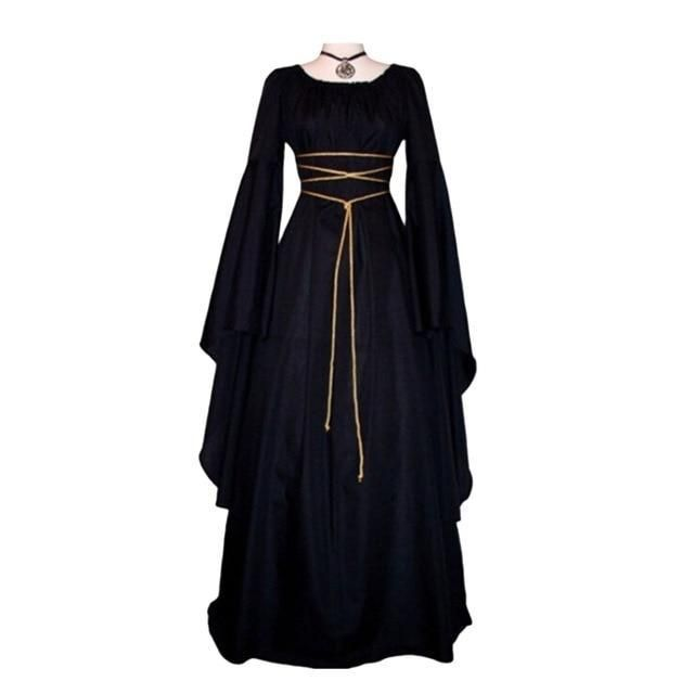 Womens Vintage Medieval Dress Renaissance Gothic Costume Gown Dress