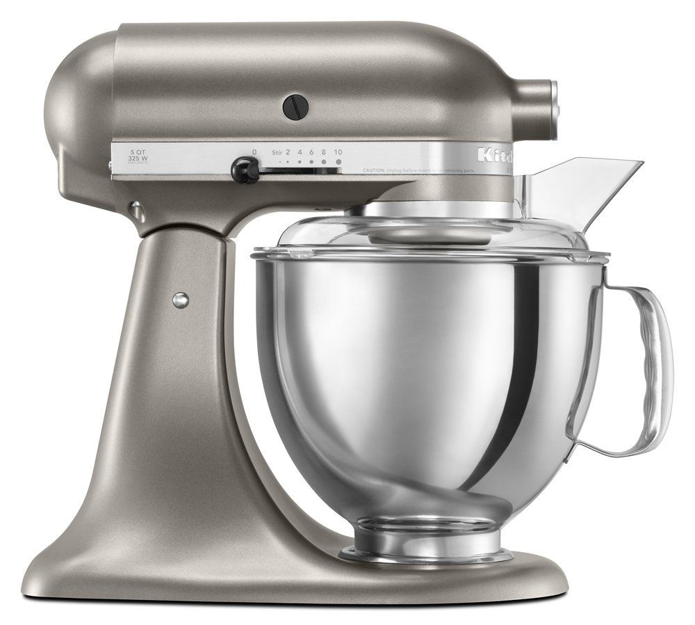 Cocoa silver kitchenaid artisan with pouring shield and
