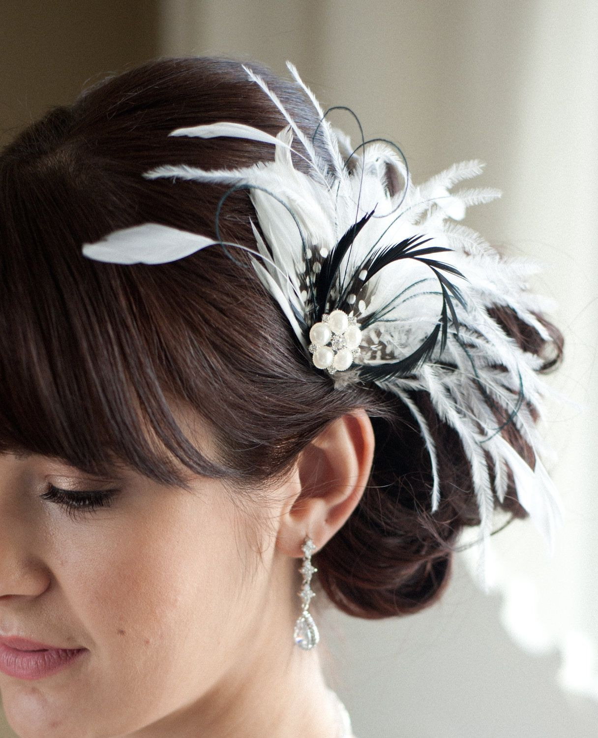 bridal feather fascinator, black and diamond white - carly. $69.00