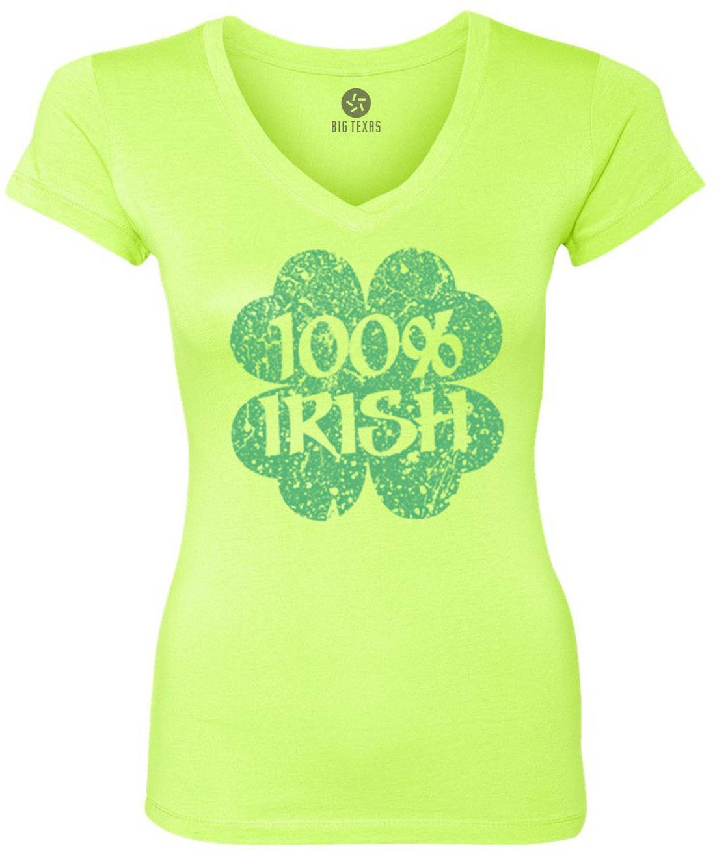 Distressed 100% Irish Shamrock (Green) Women's Short-Sleeve V-Neck T-Shirt