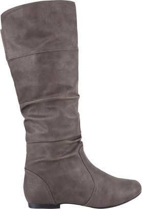tall grey not suede flat boots are nearly impossible to