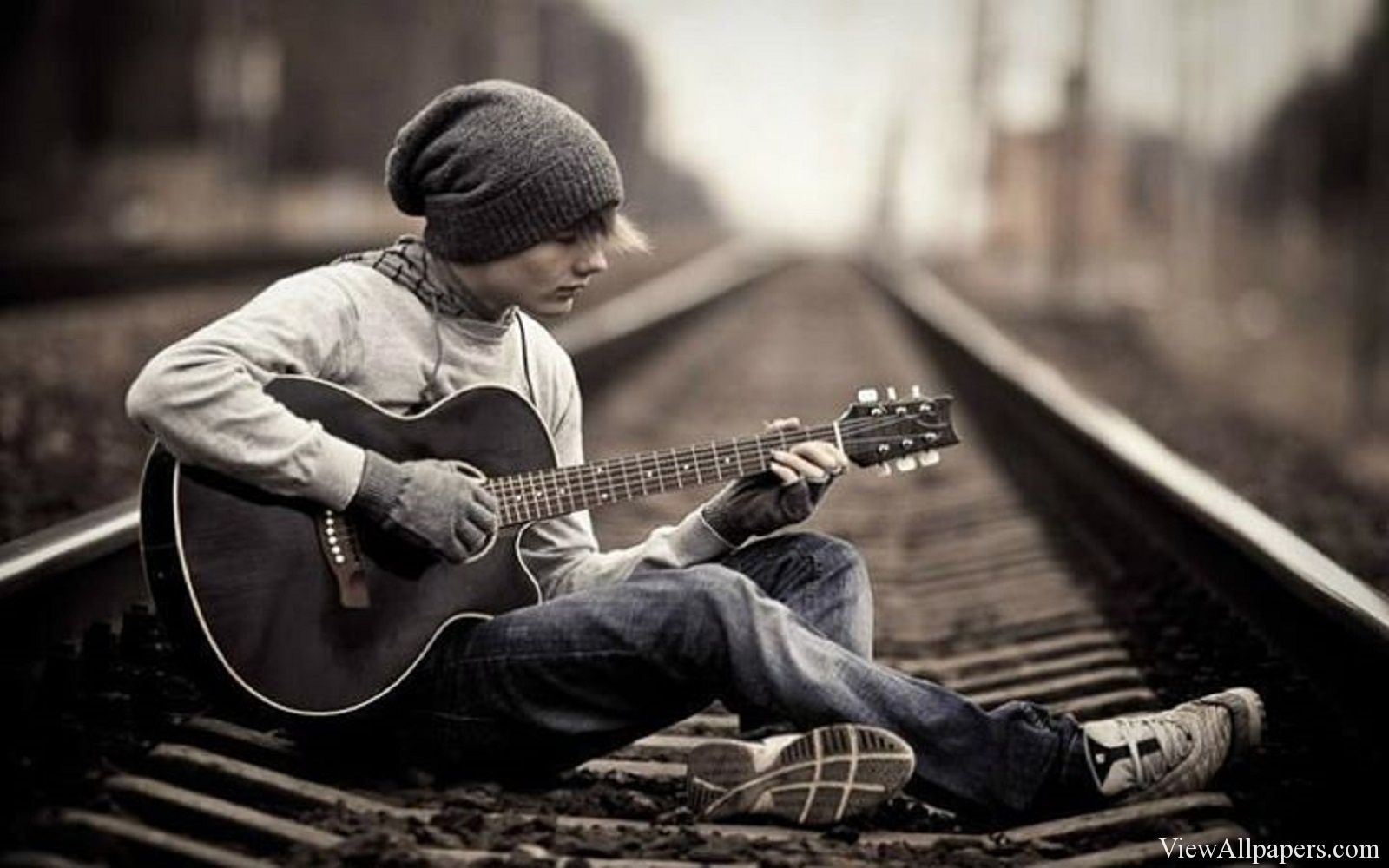Boy Playing Guitar On Railway Track Male Senior Pictures