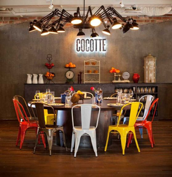 Decoracion De Estetica Industrial En El Restaurante Cocotte Decoracion De Comedor Decoracion Restaurantes Interiores Industriales