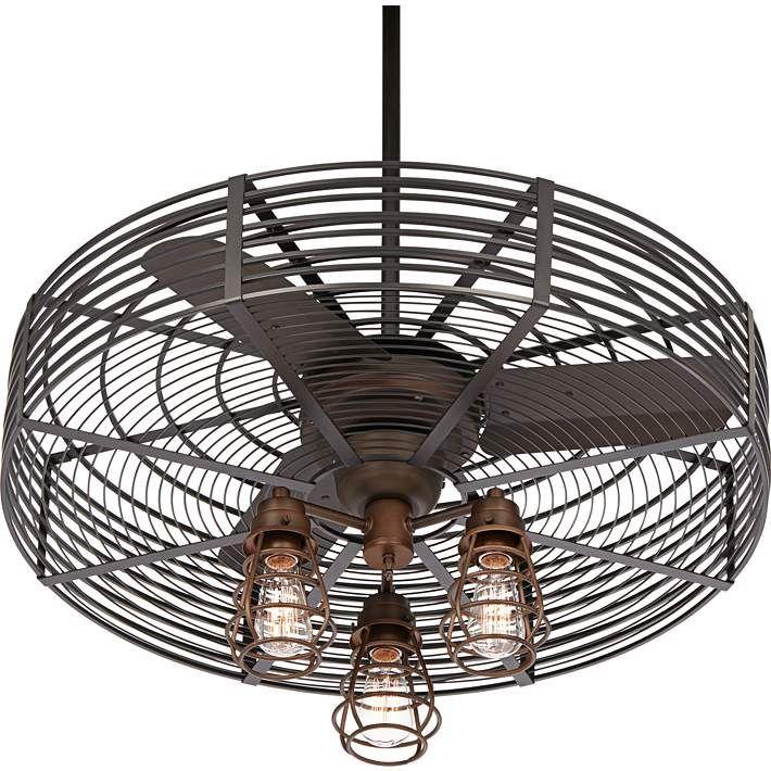 32 Vintage Breeze Bronze Cage 3 Light Ceiling Fan 21c58 Lamps Plus Bronze Cage Ceiling Fan Lighting Ceiling Fans