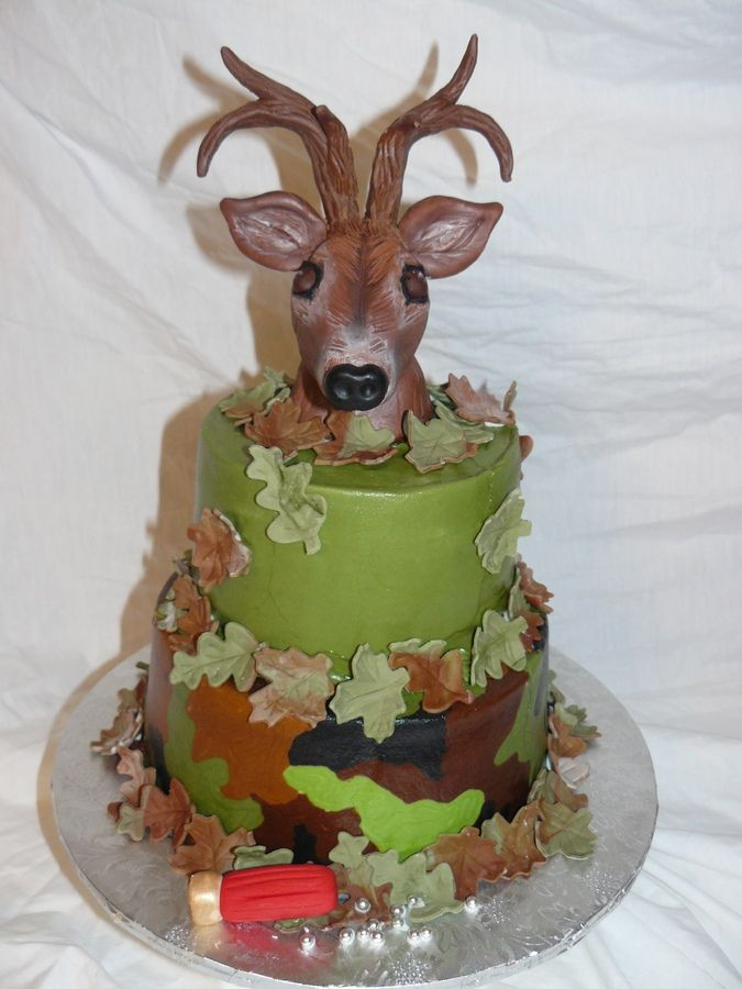 2 Tier Camo Deer Head Birthday Cake Deer Head Is Made Of