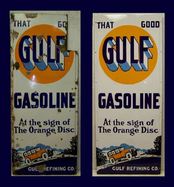 Gulf gasoline highway lighthouse porcelain sign