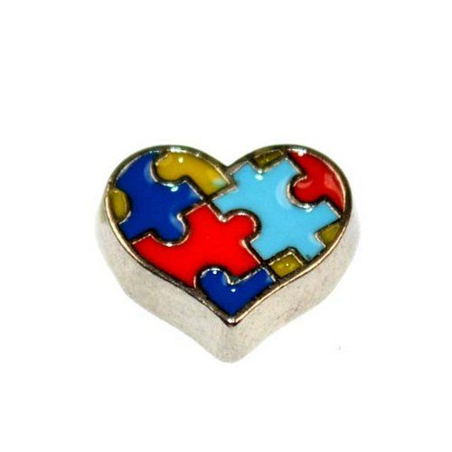 Floating Locket Charms --Jigsaw heart :