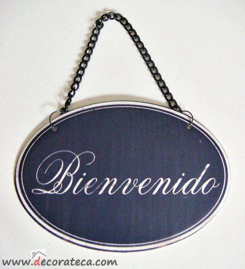 Carteles de metal retro vintage con cadena bienvenido www decorateca com cuadros y - Carteles retro ...