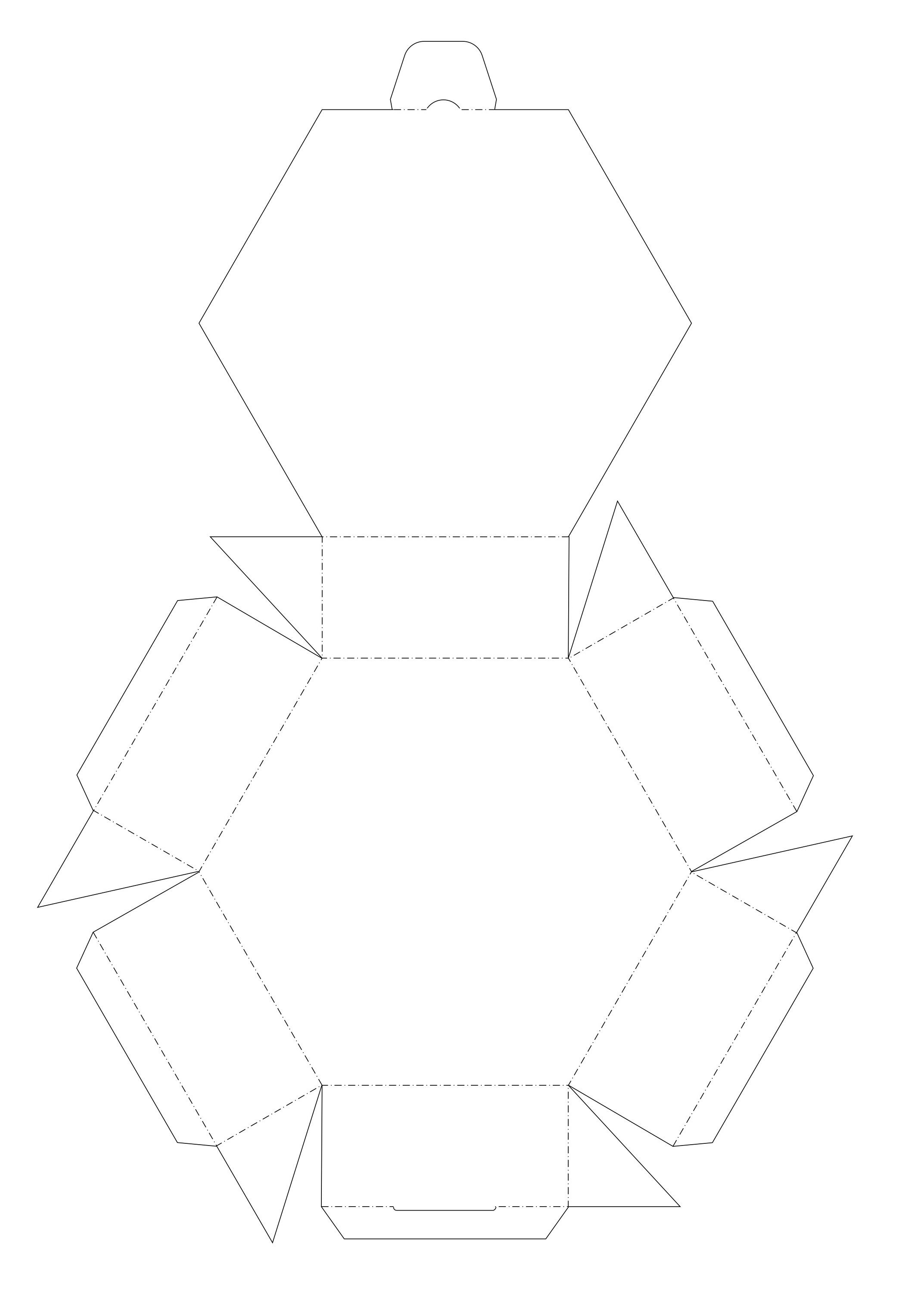 Blank six-sided printable box template (aka hexagon ... - photo#27