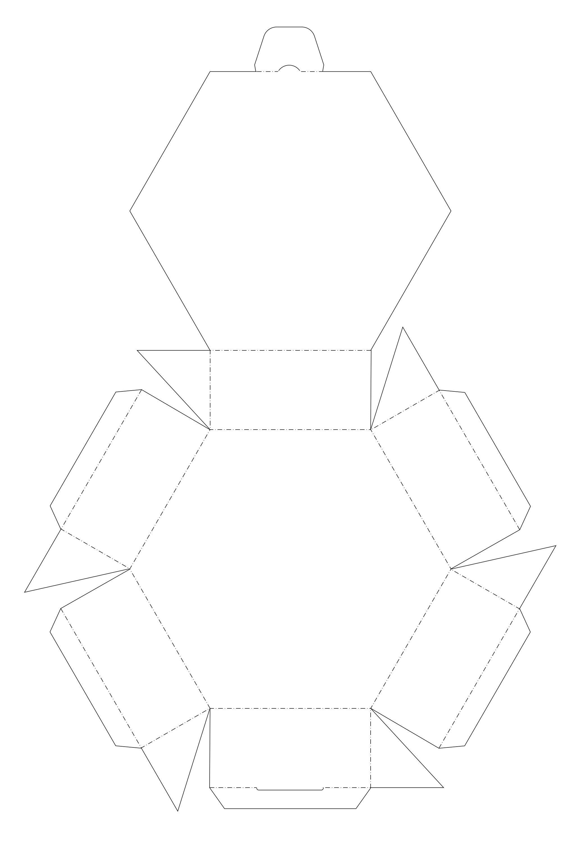 Blank six-sided printable box template (aka hexagon ... - photo#16