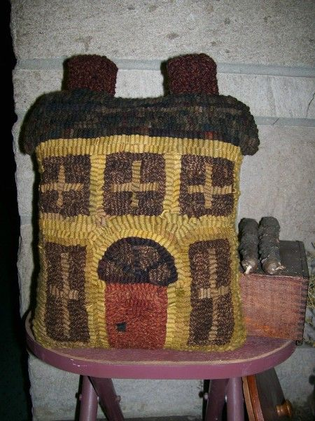 My Mustard Saltbox House Pillow Hooked On Primitives