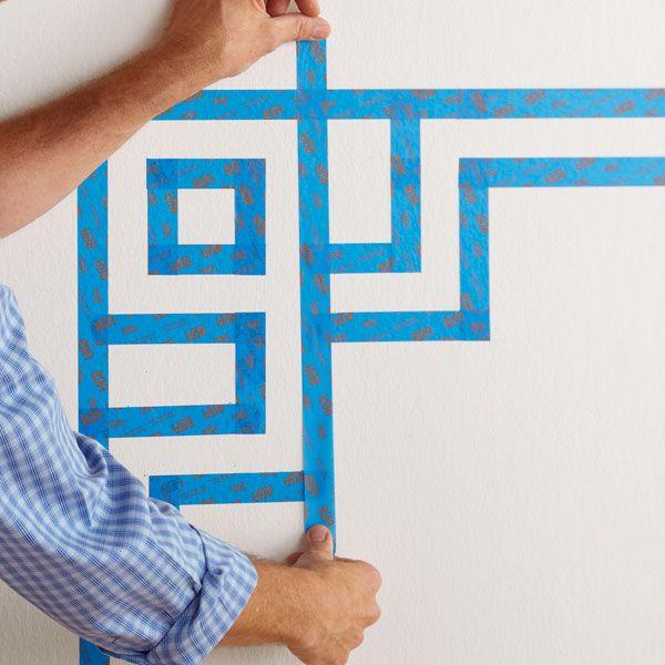 wallstripespaintingideas painted wall design headboard - Paint Tape Design Ideas
