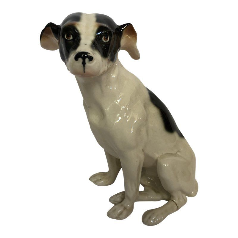 Antique Porcelain Terrier Dog Statue
