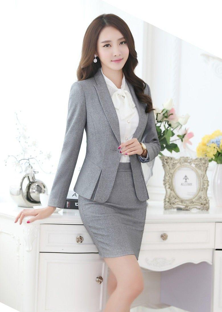 087996bee07df Formal Negro Blazer Mujeres Trajes con Falda y Top Conjuntos Señoras  Elegantes Oficina de Negocios Trajes