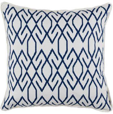 Designs Zoe Navy with White Eyelash Trim Throw Pillow contemporary pillows