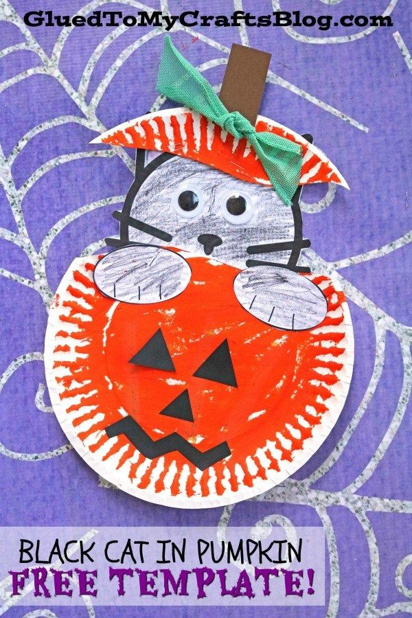 Paper Plate Black Cat In Pumpkin #pumpkincraftspreschool