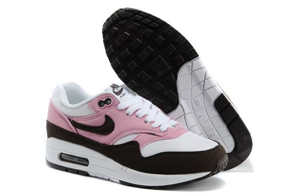 new styles 2ad66 740cd Nike Air Max 1 Pink Cooler Red Mahagony White Gym Red Womens Sneakers