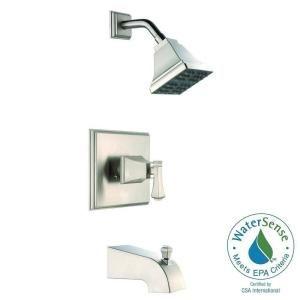Pegasus Exhibit Watersense Single Handle 1 Spray Tub And Shower Faucet In Brushed Nickel Valve Included 873w 6004 The Home Depot Shower Tub Tub And Shower Faucets Water Sense