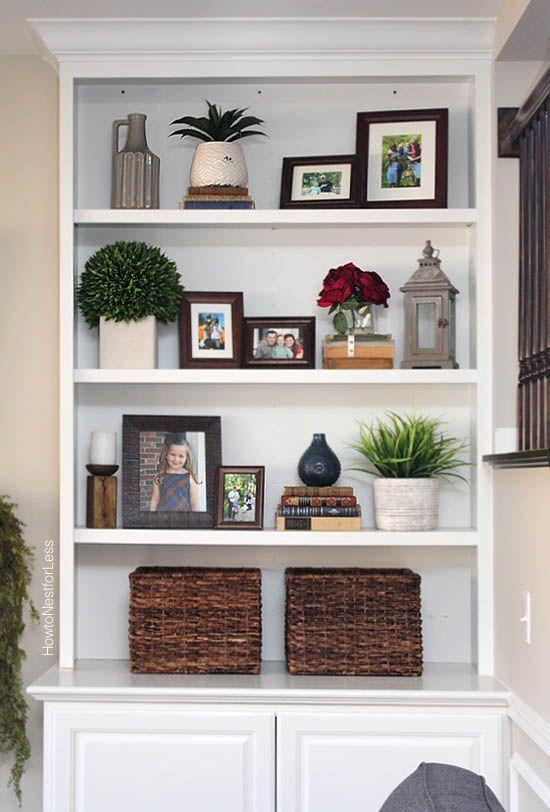 Living Room Built In Decorating Ideas Modern Furniture Arrangement Styled Family Bookshelves Bookshelf Pinterest Shelving Like The Proportions Lantern And Pictures