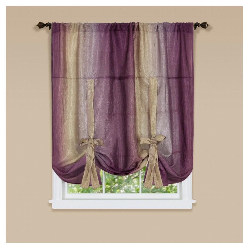 Ombre Window Curtain Tie Up Shade Aubergine (50\