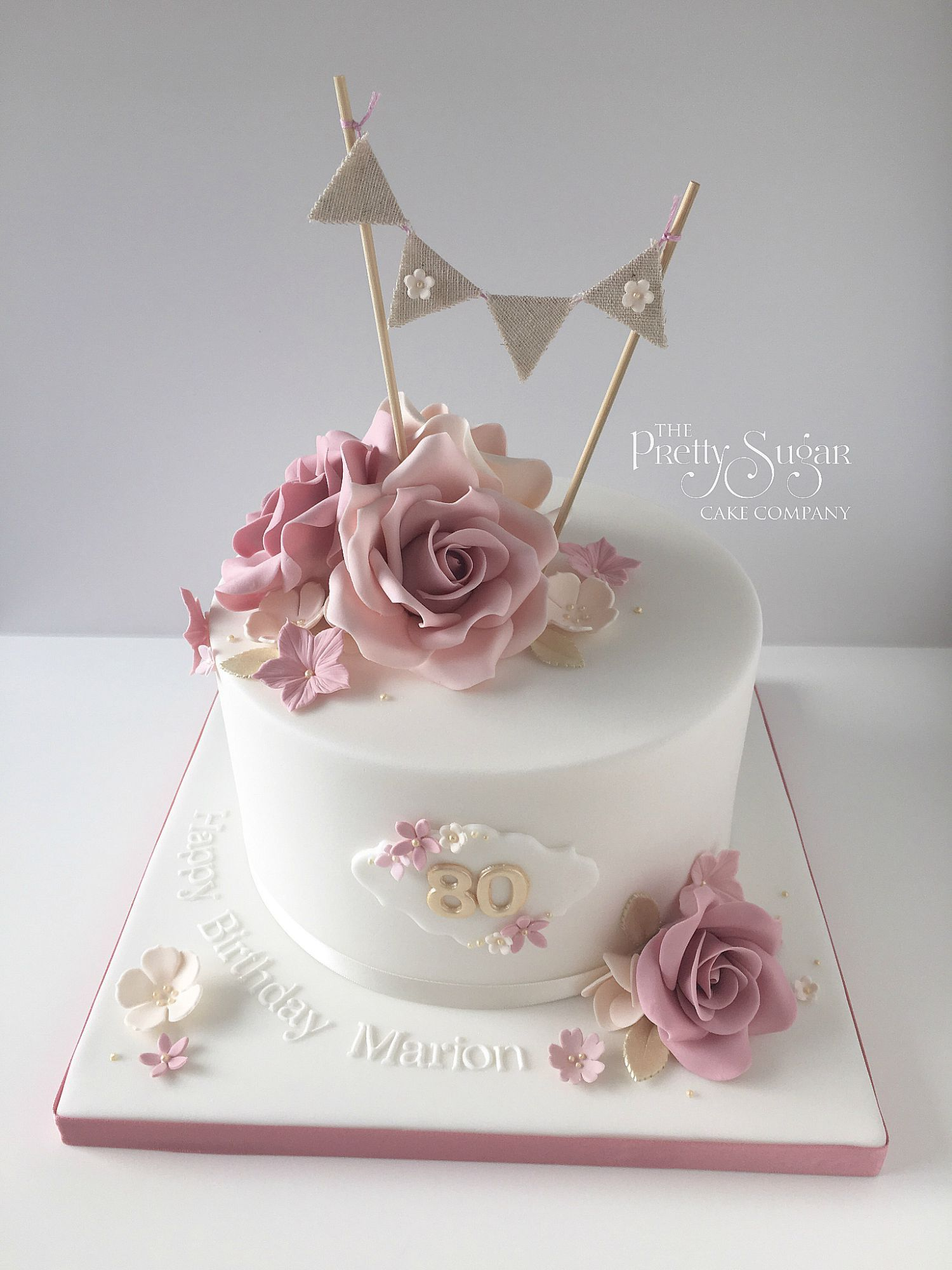 Vintage style 80th birthday cake with sugar roses and bunting topper vintage style 80th birthday cake with sugar roses and bunting topper izmirmasajfo