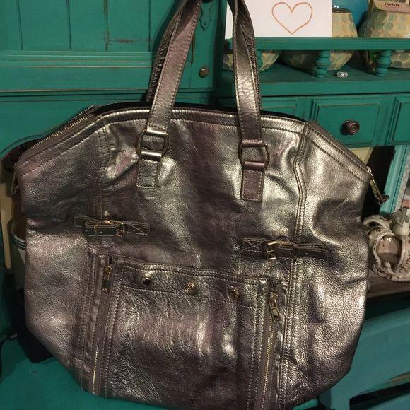 YSL silver downtown tote bag purse Euc Ysl downtown tote in silver. Super  cute! 853b70255bfc8