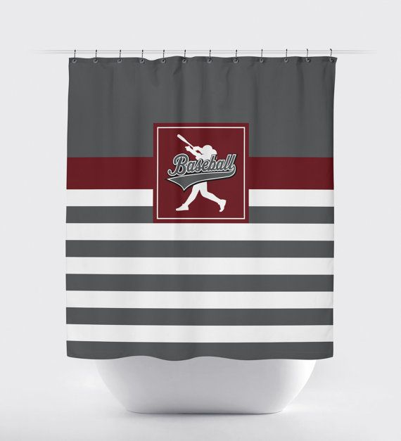 Baseball Shower Curtain Custom By Gatherednestdesigns Baseball