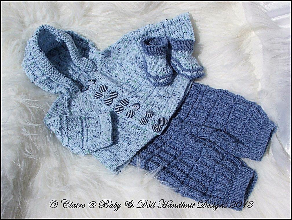 "Hooded Pram Suit 16-22"" doll/newborn/0-3m baby-knitting pattern, pram suit, baby, doll, reborn, babydoll handknit designs"