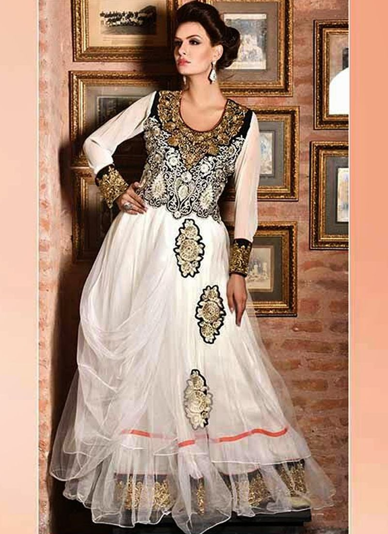 Charming off white georgette and net gown with embroidery resham