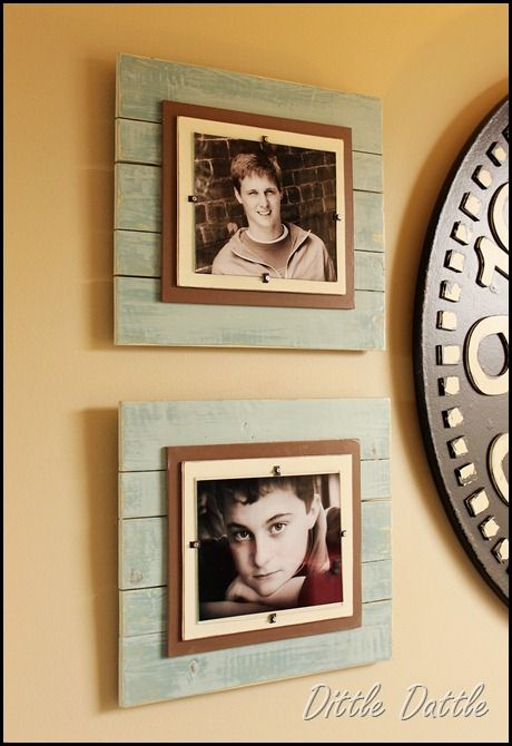 DIY super cheap frames, can be made from pallet wood. To use this outside as garden art you could attach a mosiac tile or your own piece of weather proof art - this brightens and give a dull space interest.
