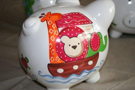 Personalized Piggy Bank noahs ark animal noah and friends