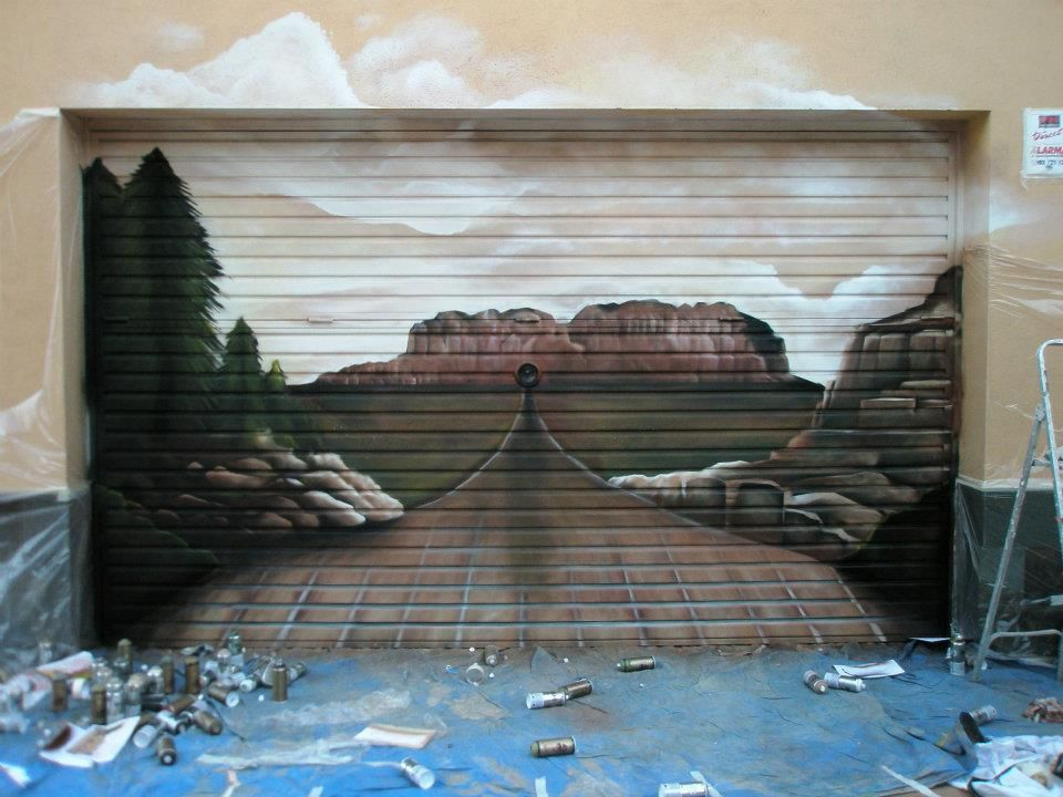 3d garage door murals mural desert on particular garage