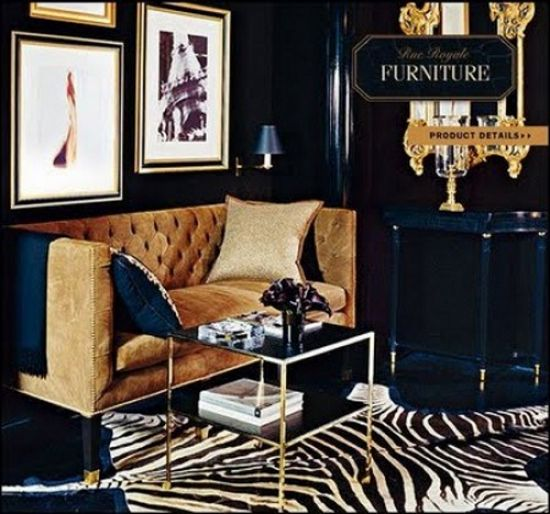 Black And Gold With Zebra Rug For Dining Room!