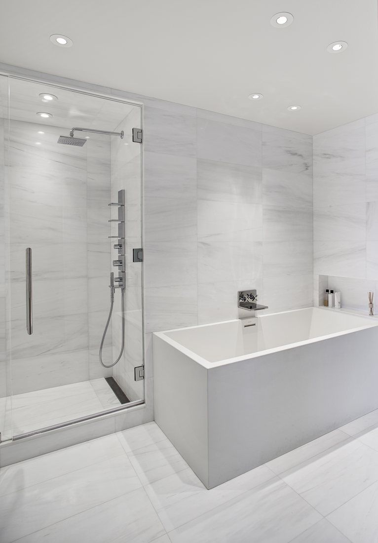 Charles Street NYC New York Bathroom Newyork Design - Large marble bathroom tiles