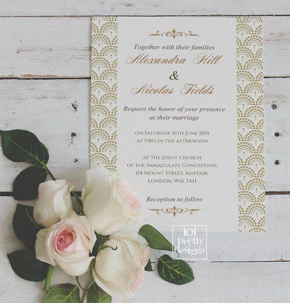Goldene Hochzeit Einladung Vorlage Druckbare Hochzeit Einladung Design  Gatsby Hochzeit Einladung Art Deco Elegante Gold Und Schwarz Der 1920er  Jahre