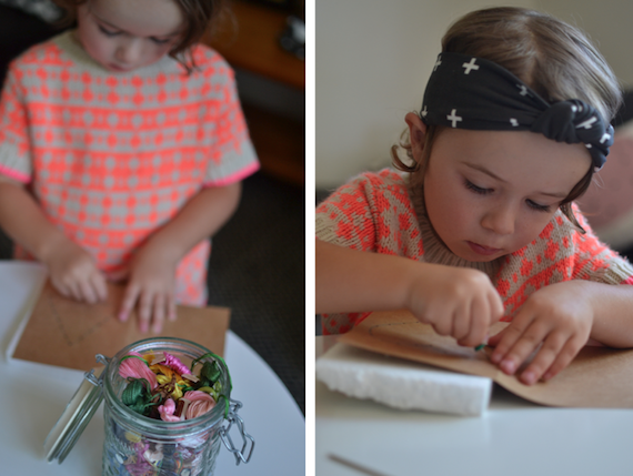 Heart Craft for kids - Montessori at home - sewing card for fine motor control by Patchwork Cactus Blog